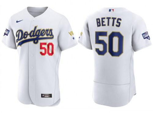 Men's Dodgers #50 Mookie Betts White Gold 2021 Gold Program Authentic Baseball Jersey