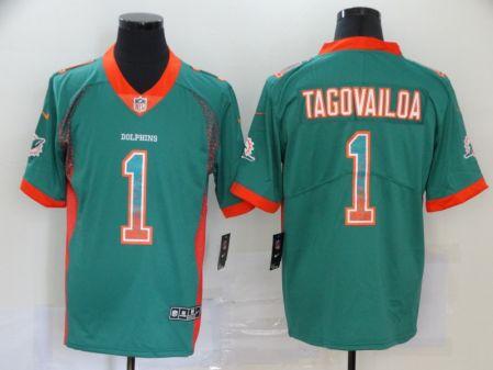 Men's Dolphins #1 Tua Tagovailoa Aqua Team Color Drift Fashion Stitched Football Limited Jersey