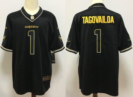 Men's Dolphins #1 Tua Tagovailoa Black Golden Edition Vapor Limited Football Jersey