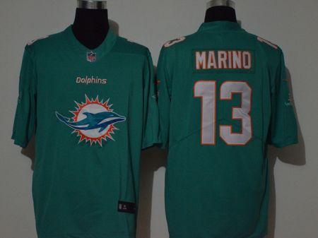 Men's Dolphins #13 Dan Marino Aqua Green Football Team Big Logo Fashion Vapor Untouchable Limited Jersey