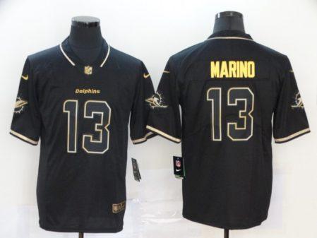Men's Dolphins #13 Dan Marino Black Golden Edition Vapor Limited Football Jersey
