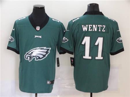 Men's Eagles #11 Carson Wentz Green Football Team Big Logo Fashion Vapor Untouchable Limited Jersey