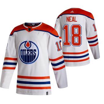 Men's Edmonton Oilers #18 James Neal White 2020-21 Reverse Retro Alternate Hockey Jersey