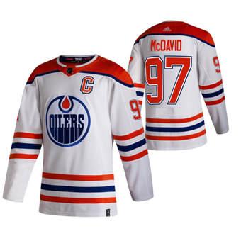 Men's Edmonton Oilers #97 Connor McDavid White 2020-21 Reverse Retro Alternate Hockey Jersey