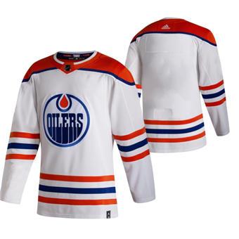 Men's Edmonton Oilers Blank White 2020-21 Reverse Retro Alternate Hockey Jersey