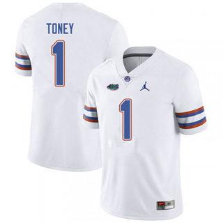 Men's Florida Gators #1 Kadarius Toney Jersey White NCAA 19-20