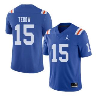 Men's Florida Gators #15 Tim Tebow Royal Throwback Alternate Game Jersey