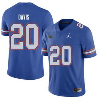 Men's Florida Gators #20 Malik Davis Royal NCAA Football Game Jersey