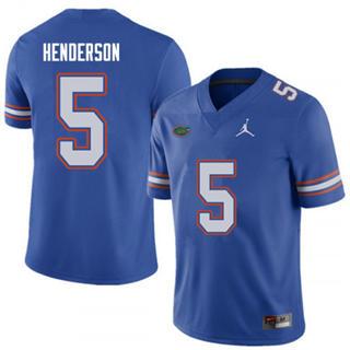 Men's Florida Gators #5 C.J. Henderson Blue NCAA Jersey