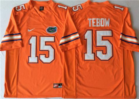 Men's Florida Gators Orange #15 TEBOW Stitched College Football Jersey