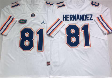Men's Florida Gators White #81 HERNANDEZ Stitched College Football Jersey