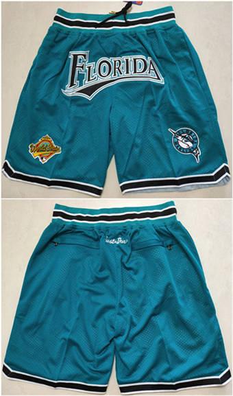 Men's Florida Marlins Teal Basketball Shorts (Run Small)