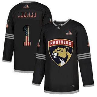 Men's Florida Panthers #1 Roberto Luongo Black USA Flag Limited Hockey Jersey