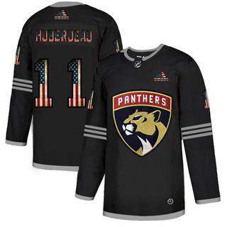 Men's Florida Panthers #11 Jonathan Huberdeau Black USA Flag Limited Hockey Jersey