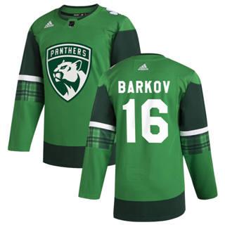 Men's Florida Panthers #16 Aleksander Barkov 2020 St. Patrick's Day Stitched Hockey Jersey Green