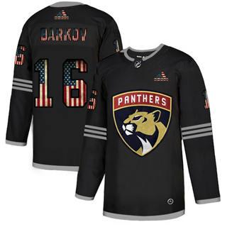 Men's Florida Panthers #16 Aleksander Barkov Black USA Flag Limited Hockey Jersey