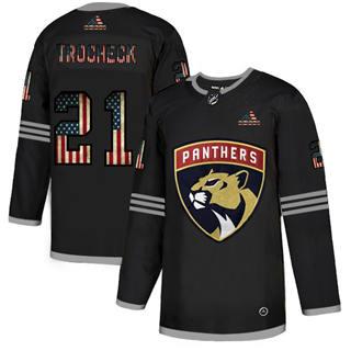 Men's Florida Panthers #21 Vincent Trocheck Black USA Flag Limited Hockey Jersey