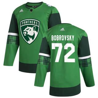 Men's Florida Panthers #72 Sergei Bobrovsky 2020 St. Patrick's Day Stitched Hockey Jersey Green