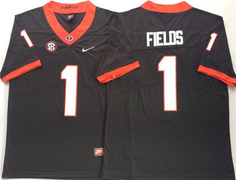 Men's Georgia Bulldogs Black #1 FIELDS Stitched College Football Jersey