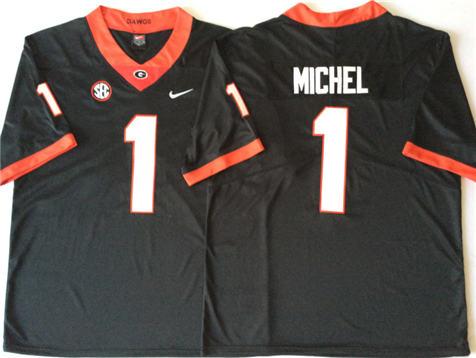 Men's Georgia Bulldogs Black #1 MICHEL Stitched College Football Jersey