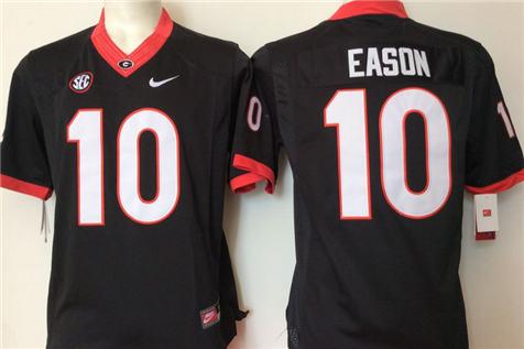 Men's Georgia Bulldogs Black #10 EASON Stitched College Football Jersey