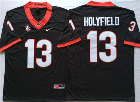 Men's Georgia Bulldogs Black #13 HOLYFIELD Stitched College Football Jersey