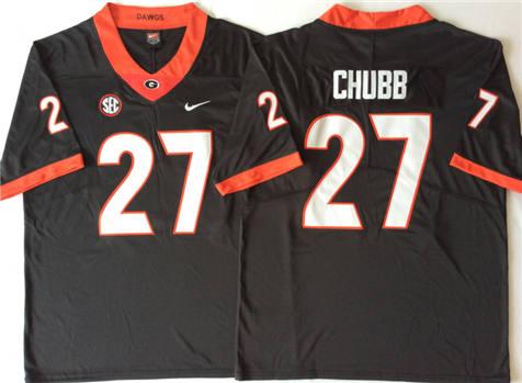 Men's Georgia Bulldogs Black #27 CHUBB Stitched College Football Jersey