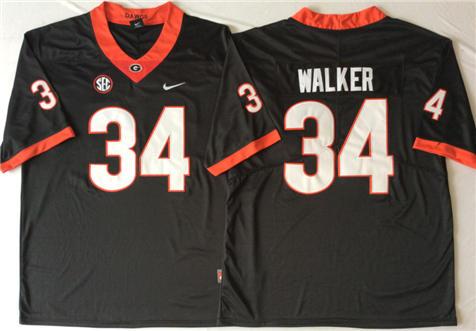 Men's Georgia Bulldogs Black #34 WALKER Stitched College Football Jersey