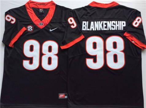 Men's Georgia Bulldogs Black #98 BLANKENSHIP Stitched College Football Jersey