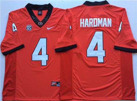 Men's Georgia Bulldogs Red #4 HARDMAN Stitched College Football Jersey