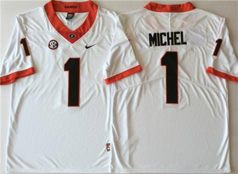 Men's Georgia Bulldogs White #1 MICHEL Stitched College Football Jersey
