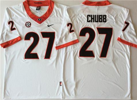 Men's Georgia Bulldogs White #27 CHUBB Stitched College Football Jersey