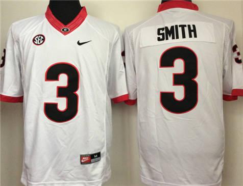 Men's Georgia Bulldogs White #3 SMITH Stitched College Football Jersey 2