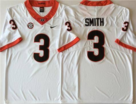 Men's Georgia Bulldogs White #3 SMITH Stitched College Football Jersey