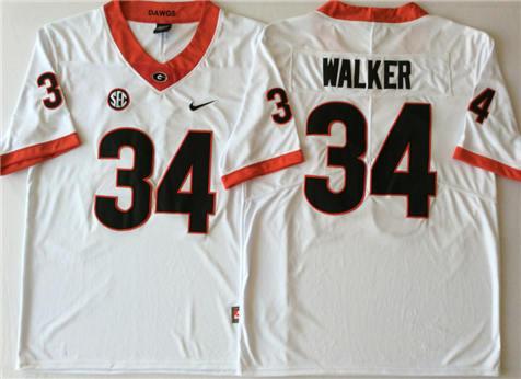 Men's Georgia Bulldogs White #34 WALKER Stitched College Football Jersey