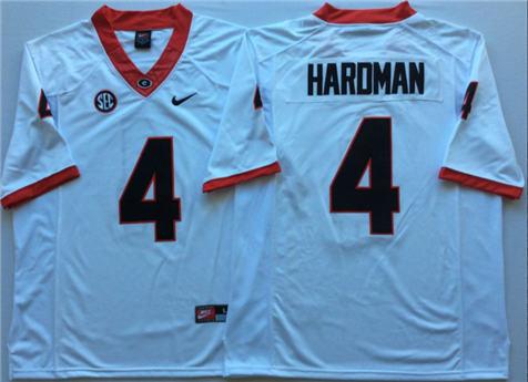 Men's Georgia Bulldogs White #4 HARDMAN Stitched College Football Jersey