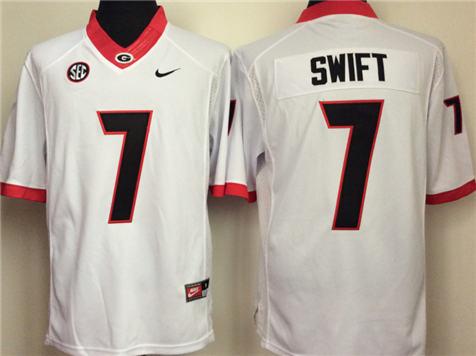Men's Georgia Bulldogs White #7 SWIFT Stitched College Football Jersey 2