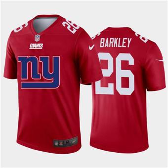 Men's Giants #26 Saquon Barkley Red Football Team Big Logo Fashion Vapor Limited Jersey