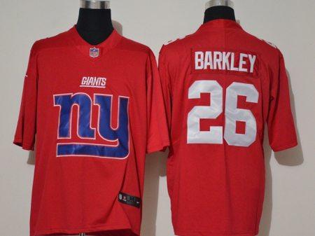 Men's Giants #26 Saquon Barkley Red Football Team Big Logo Fashion Vapor Untouchable Limited Jersey