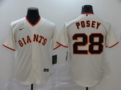 Men's Giants #28 Buster Posey Cream 2020 Baseball Cool Base Jersey