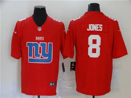 Men's Giants #8 Daniel Jones Red Football Team Big Logo Fashion Vapor Untouchable Limited Jersey