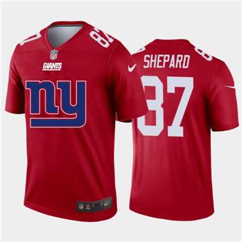 Men's Giants #87 Sterling Shepard Red Football Team Big Logo Fashion Vapor Limited Jersey