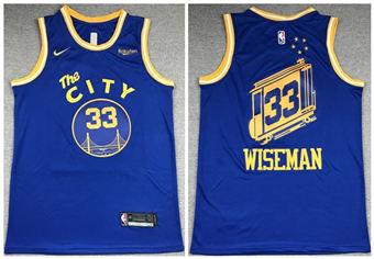 Men's Golden State Warriors #33 James Wiseman Blue 2020-2021 Hardwood Classic Stitched Basketball Jersey