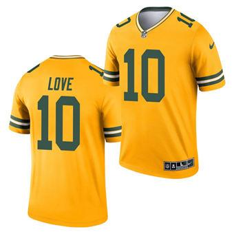 Men's Green Bay Packers #10 Jordan Gold 2021 Inverted Legend Stitched Jersey