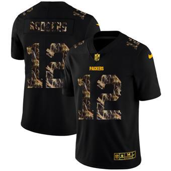 Men's Green Bay Packers #12 Aaron Rodgers Black Flocked Lightning Vapor Limited Football Jersey
