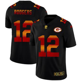 Men's Green Bay Packers #12 Aaron Rodgers Black Red Orange Stripe Vapor Limited Football Jersey