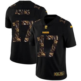 Men's Green Bay Packers #17 Davante Adams Black Flocked Lightning Vapor Limited Football Jersey