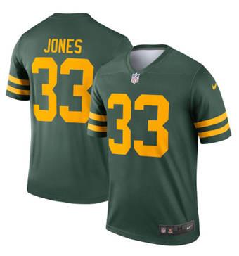 Men's Green Bay Packers #33 Aaron Jones 2021 Green Legend Stitched Football Jersey