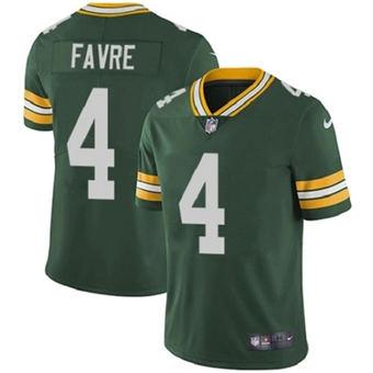 Men's Green Bay Packers #4 Brett Favre Green Stitched Jersey