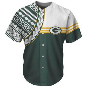 Men's Green Bay Packers Green Baseball Jersey